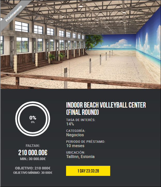 Proyecto Indoor beach volleyball center (Final round) (Rent. 14% a 10 meses) 1896