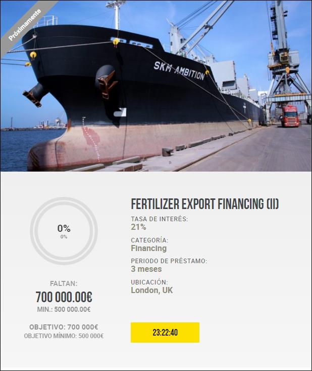 Proyecto Fertilizer Export Financing (II) Rent. 21% a 3 meses. 1901