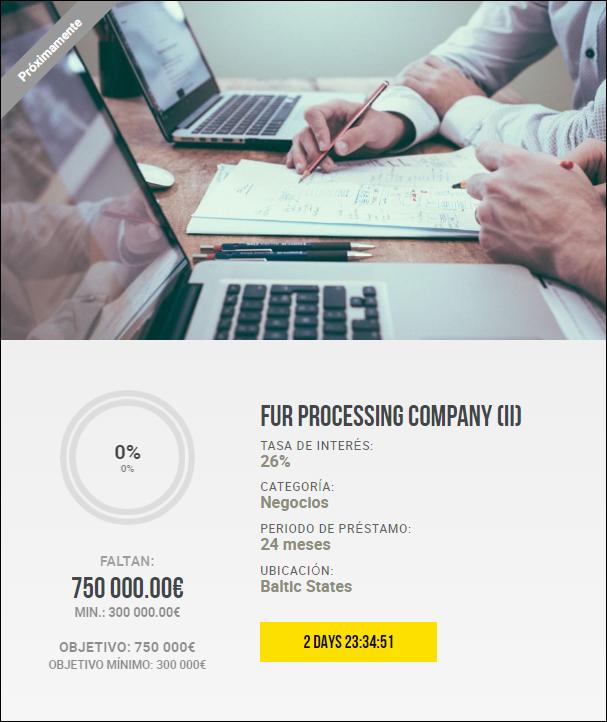 Proyecto Fur processing company (II) Rent.26% a 24 meses 1910