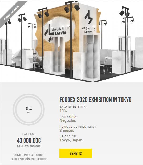 Proyecto FOODEX 2020 exhibition in Tokyo (Rent.11% por 3 meses) 1929