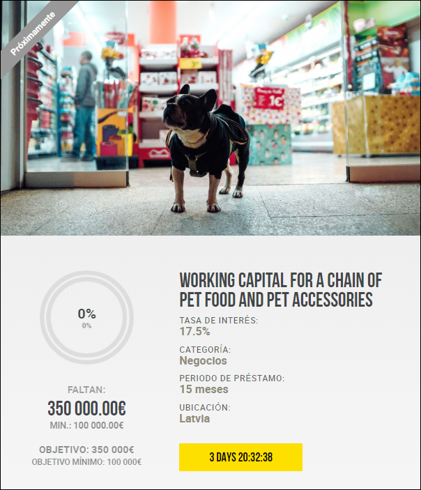 Proyecto Working capital for a chain of Pet Food and Pet Accessories (Rent 17.5% por 15 meses) PROYECTO PAGADO 100% 1933