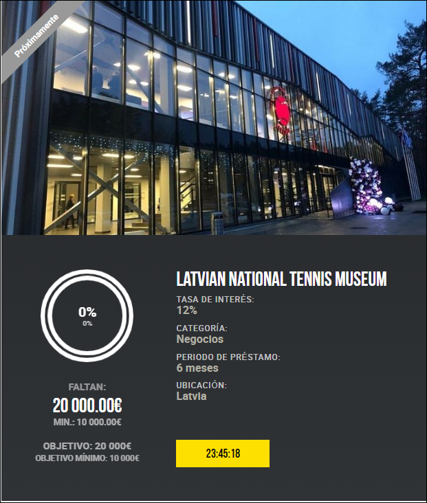 Proyecto Latvian National Tennis Museum ( Rent. 12% a 6 meses) 1942