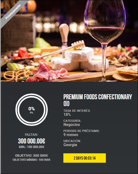 Proyecto PREMIUM FOODS CONFECTIONARY (II) ( Ren. 18% durante 9 meses)  1956