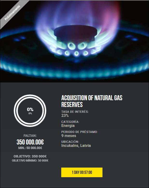 Proyecto Acquisition of natural gas reserves ( Rent. 23% a 9 meses.) 1969