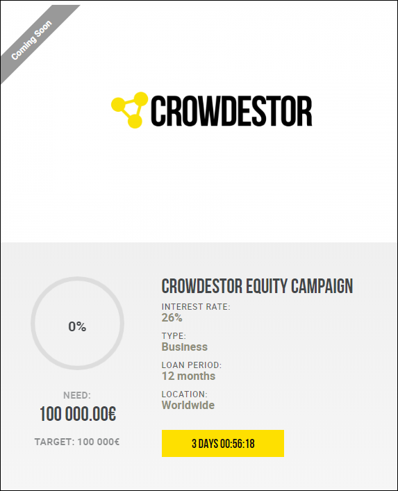 Proyecto Crowdestor Equity Campaign (Rent. 26% por 12 meses) 1978
