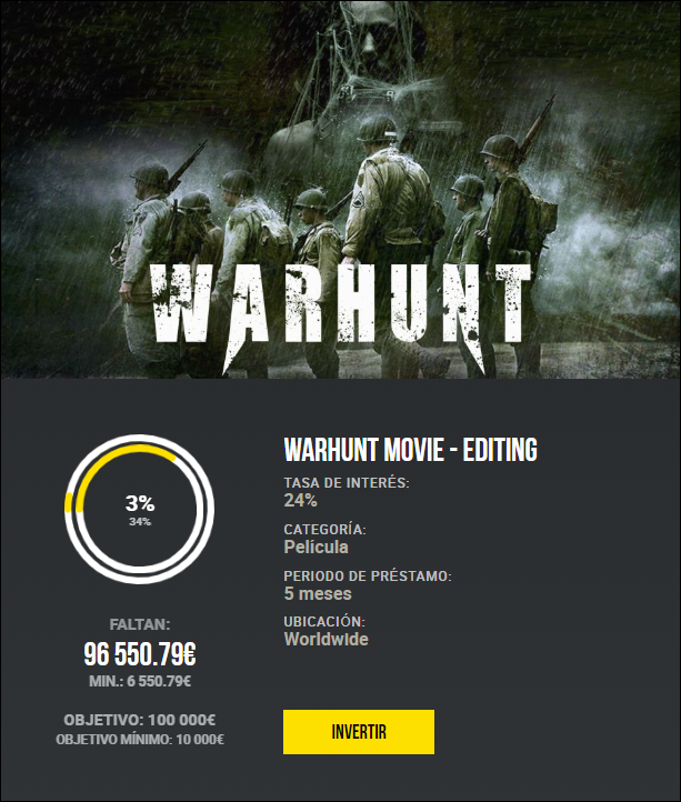 Proyecto WarHunt Movie - Editing ( Rent. 24% a 5 meses) 1980