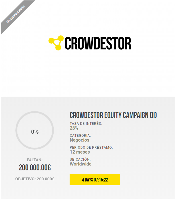 Proyecto Crowdestor Equity Campaign (II) ( Rent. 26% a 12 meses)  1985