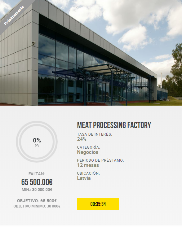 Proyecto Meat processing factory( Rent. 24% pro 12 meses)  1989