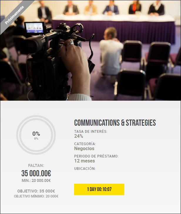 Proyecto Communications & Strategies ( Rent.24% por 12 meses) 1990