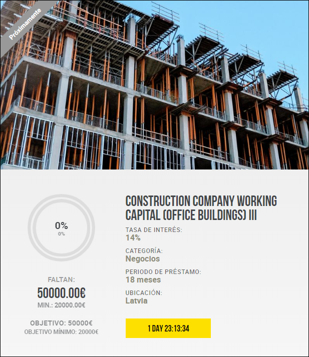 Construction company working capital (office buildings) III y IV ( Rent.14% por 16 y 18 meses)		 5511