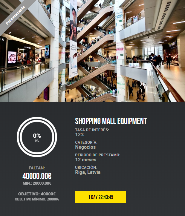 2 Proyectos Purchase of the shop /Shopping mall equipment ( Ren.12%a 12 meses) 5512
