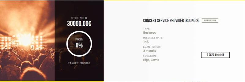 Proyecto Concert service provider (Round 2)( Rent. 14% por 3 meses) Proyecto pagado dia 01-08-2019 Captu152