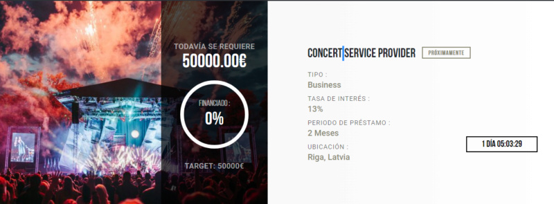 Proyecto Concert service provider  (Rent. 13% por solo 2 Meses) cerrado 100% Captu175