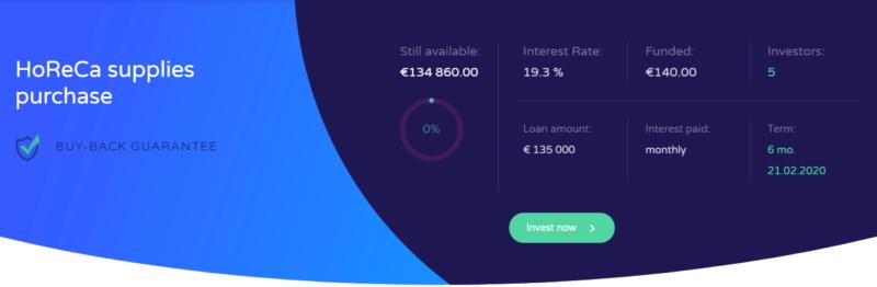 Proyecto HoReCa supplies purchase ( Rent. 19.30 % durante 6 meses ) CERRADO 100% dos meses antes de lo previsto. Captu200