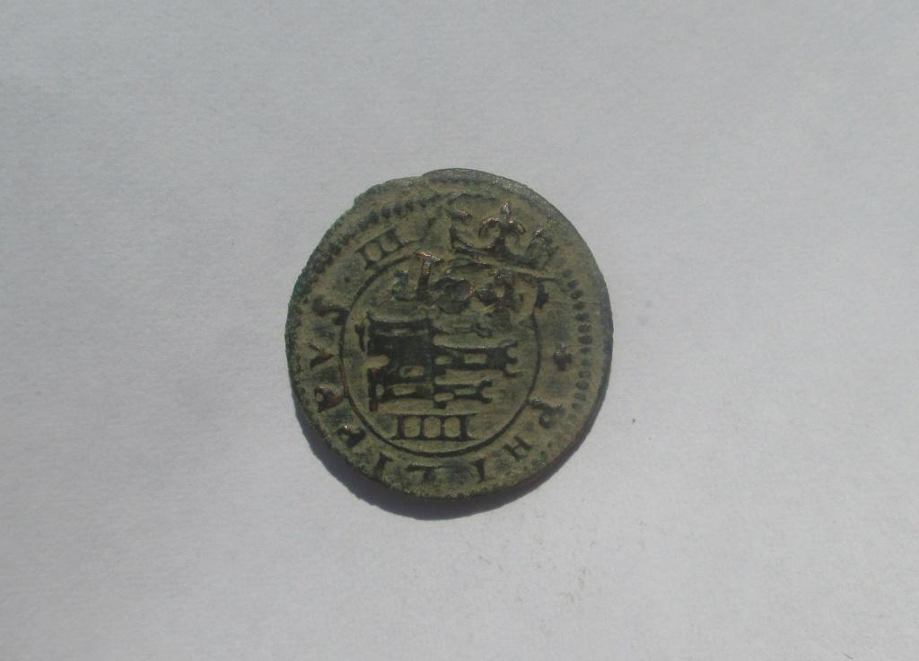 4 maravedís de Felipe IV de Segovia, 1618, resellados a VI en 1641. Img_2636