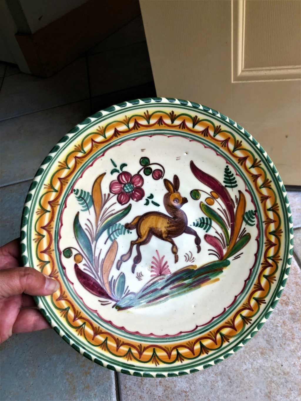 Bird and Deer Hand Painted Ceramic Plates Img-5711
