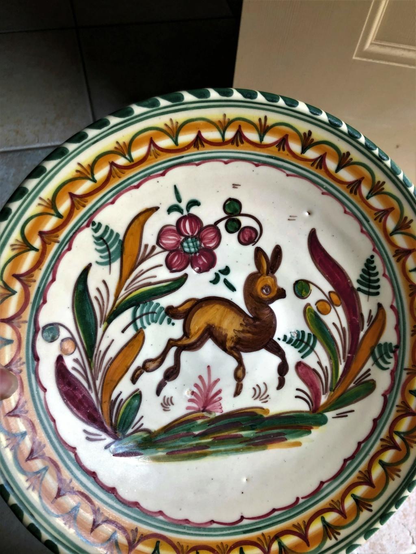 Bird and Deer Hand Painted Ceramic Plates Img-5715