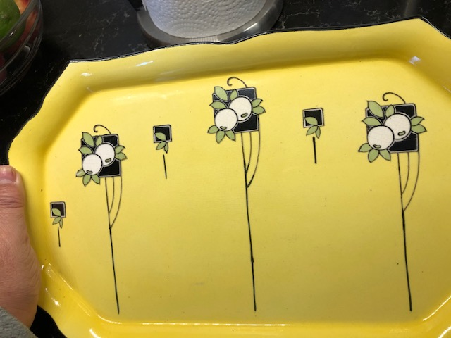 Need ID on this Yellow and Black Art Deco Porcelain Tray Platter Img_4112