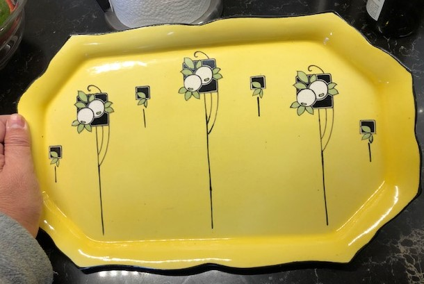 Need ID on this Yellow and Black Art Deco Porcelain Tray Platter Img_4114