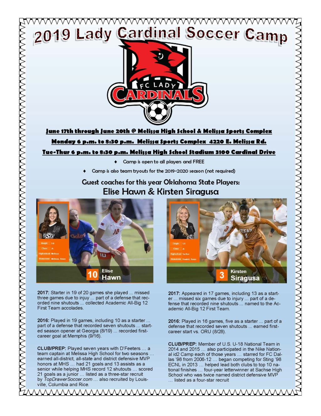 Free Soccer camp (coached by Ok St players) Summer14