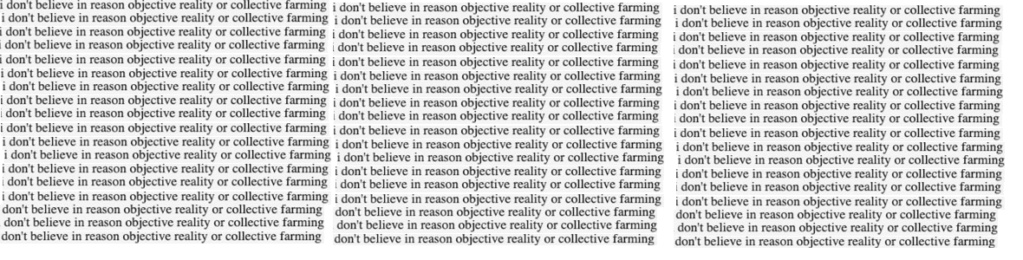 I  dont believe in reason, objective reality or collective farming Yes11