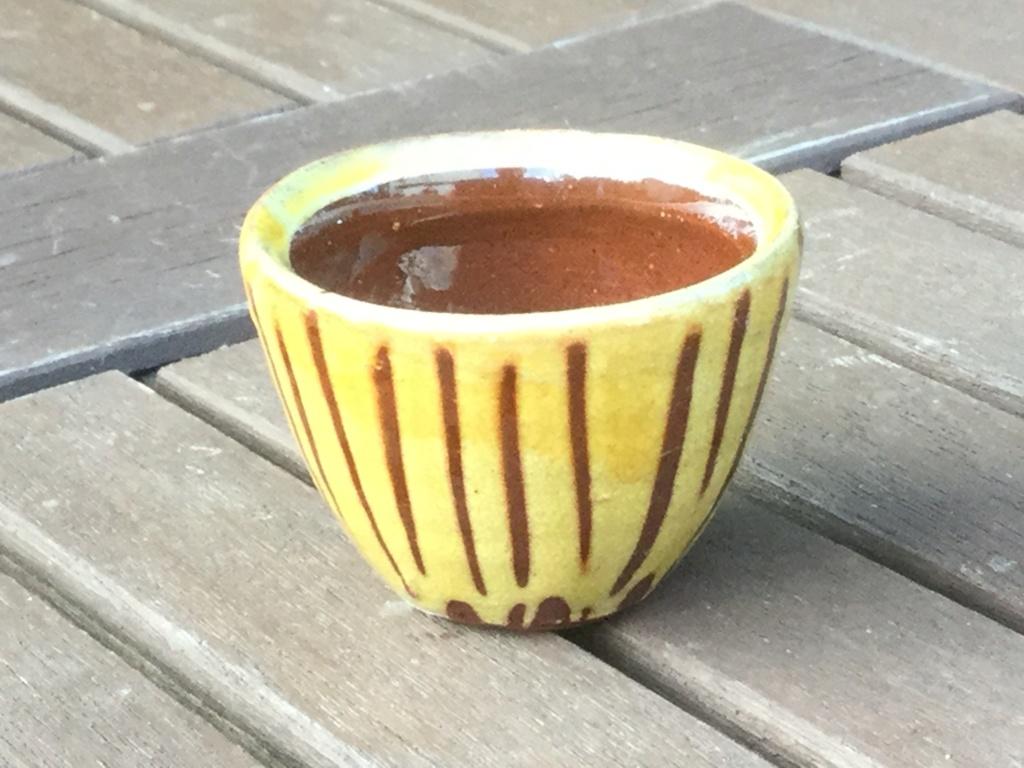 Slipware egg cup, initials HJ Img_7013