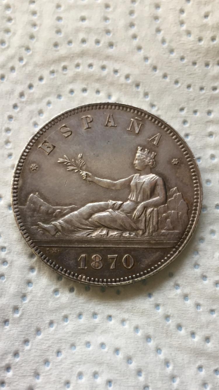 5 Pesetas 1870. Gobierno Provisional. SN M 33790e10