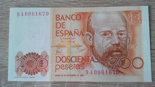 Número más bajo/alto de... 200 pesetas 1980 Serie 8 y 9 200_pe10
