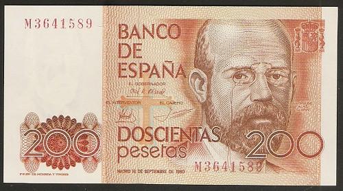 Número más bajo/alto de... 200 pesetas 1980 Serie 8 y 9 200_pe11
