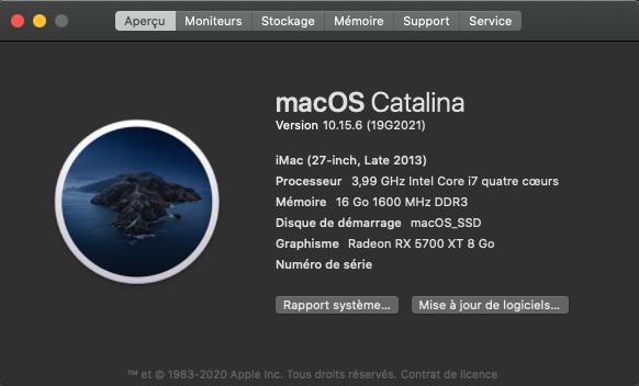 macOS Catalina 10.15.6 Mise a jour supplémentaire (19G2021) Captur13