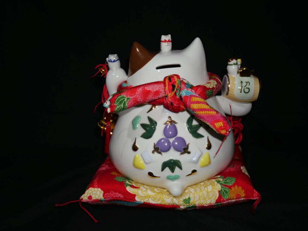 Maneki neko japonais au couleurs du printemps japonais  0e6e4d10