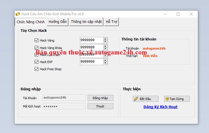 Hack Cửu Âm Chân Kinh Mobile miễn phí Cuuamc10