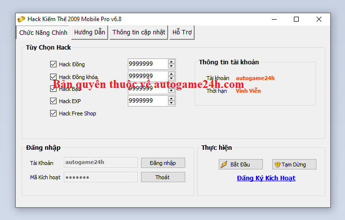 Hack Kiếm Thế 2009 Mobile miễn phí Kiemth10