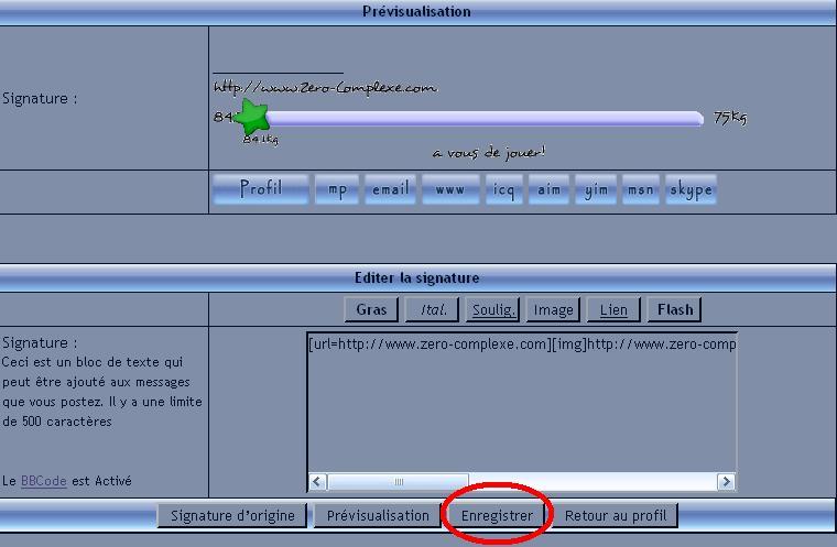 insérer une réglette dans votre signature Enregi10