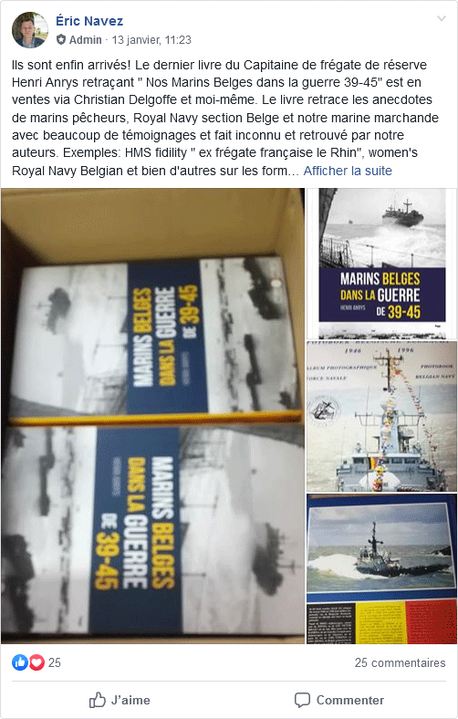 """Le livre """"Marins Belges dans la guerre 39-45"""" de Henri Anrys Navez110"""
