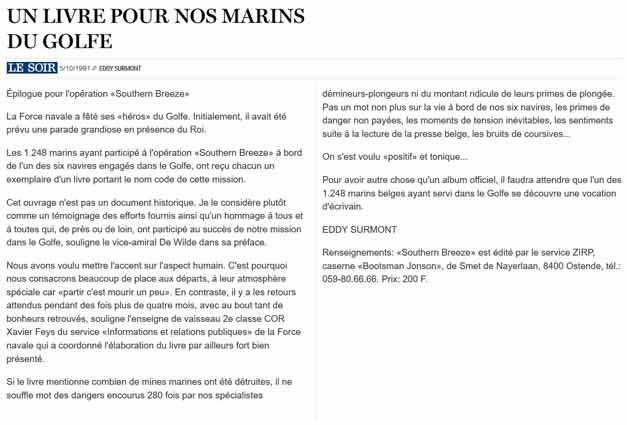 Southern Breeze dans les archives du journal LE SOIR - Page 7 P_soi100