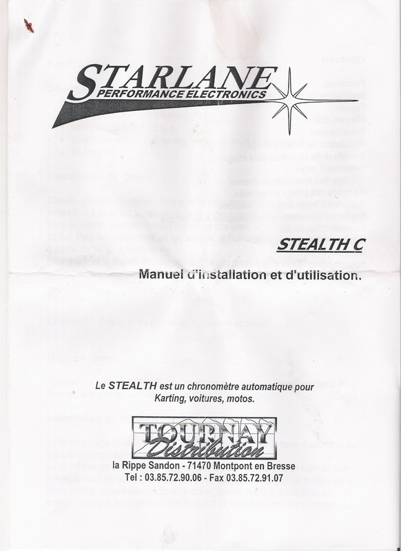 Manuel d'utilisation starlane stealth Numris10