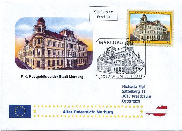 Selbst kreirte Belege/ Sonderstempel / Ersttage Marbur10