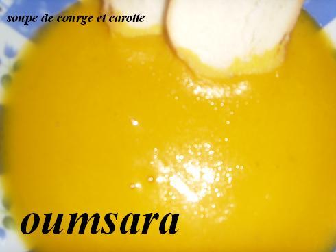 Sobba marocaine b'lgar3a l'7amra o 5izo / Velouté de citrouille et carottes Soupe_10