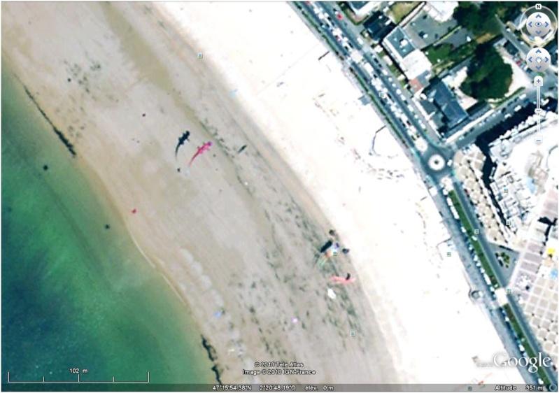 Cerf-volants et Kite Surf sur Google Earth Pornic10