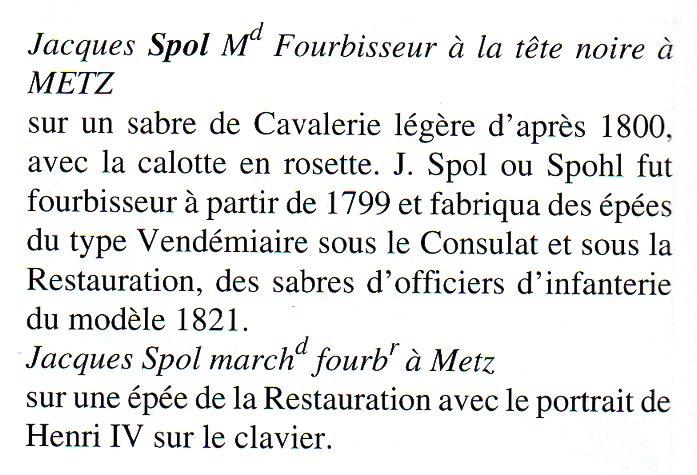 J. Spol marchand forubiseur a Metz XI Chasseur Model Officer Sabre  Spol1610