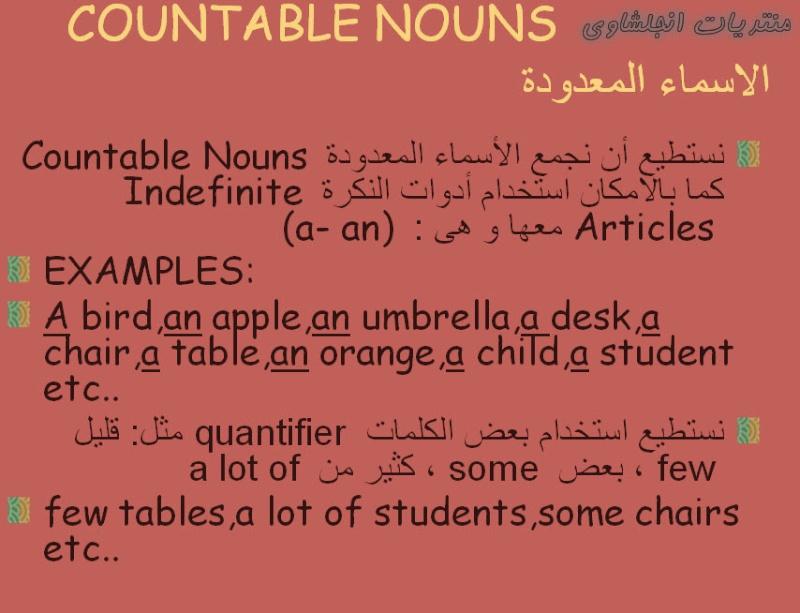 شرح رائع للأسماء المعدودة و غير المعدودة Countable & Uncountable Nouns فى اللغة الانجليزية 127
