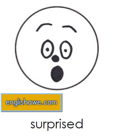 بطاقات تعليمية للوجوة التعبيرية فى اللغة الانجليزية بالصور للاطفال  Facial Expressions for Childred   1311