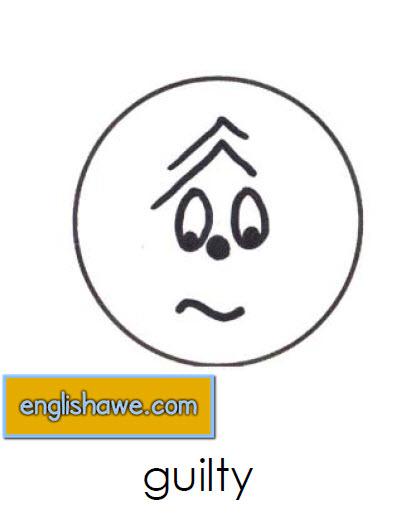 بطاقات تعليمية للوجوة التعبيرية فى اللغة الانجليزية بالصور للاطفال  Facial Expressions for Childred   1611