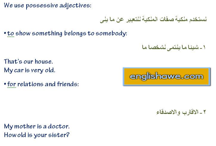 درس صفات الملكية فى اللغة الانجليزية للمبتدئين  possessive adjectives in English language 218