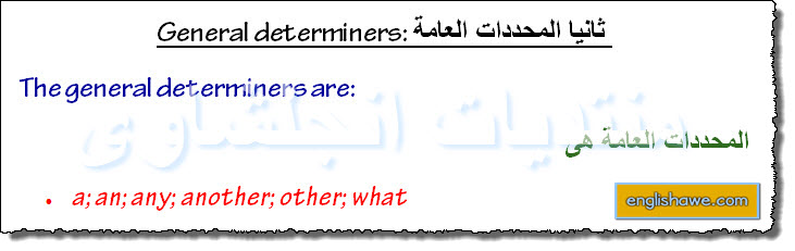 درس كامل للمحددات العامة والخاصة فى اللغة الانجليزية General and specific determiners 520