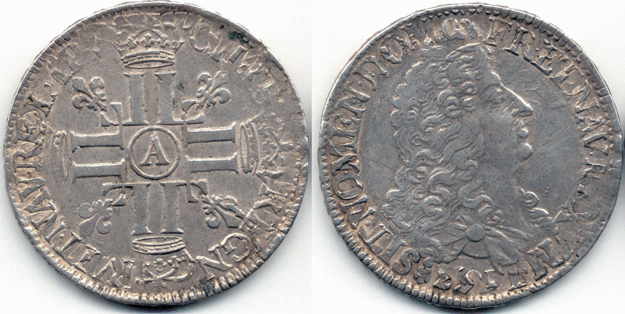 Ecu aux 8 L 1691 A (réforme sur écu 1653 B Rouen ???) Fraecu10