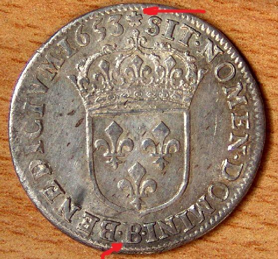 Ecu aux 8 L 1691 A (réforme sur écu 1653 B Rouen ???) Louisx10