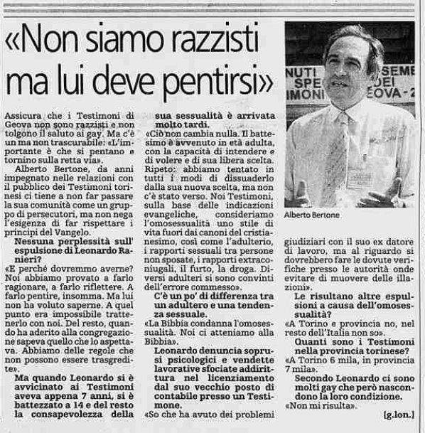 Alberto Bertone responsabile stampa dei Testimoni di Geova risponde su disassociazione ed ostracismo ad un gay Tdg_al10