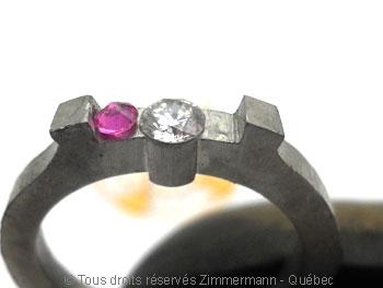 Bague palladium, diamant 15/100 ct et deux saphirs roses Bapabf19